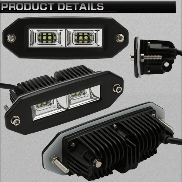 埋め込み専用 LED ライトポッド 40W フォグランプ バックランプ 作業灯 補助灯に フラッシュマウント型 12V/24V IP67 P-533|eale|02