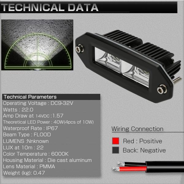 埋め込み専用 LED ライトポッド 40W フォグランプ バックランプ 作業灯 補助灯に フラッシュマウント型 12V/24V IP67 P-533|eale|03