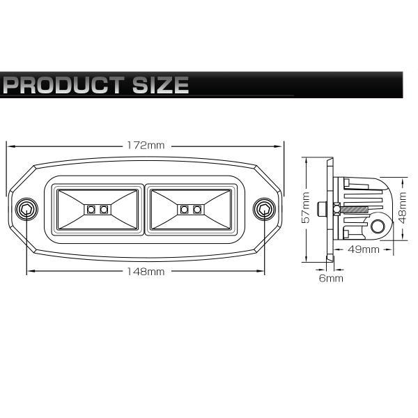 埋め込み専用 LED ライトポッド 40W フォグランプ バックランプ 作業灯 補助灯に フラッシュマウント型 12V/24V IP67 P-533|eale|06