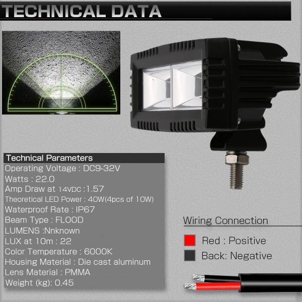 40W LED 作業灯 小型 軽量モデル 60度 広角 アルミダイキャスト 防水IP67 12V 24V P-535 eale 03