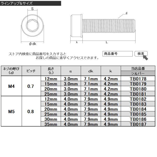 SUS304 キャップボルト M4×20mm P0.7 六角穴付きボルト スリムヘッド シルバー ステンレス製 TB0180|eale|04