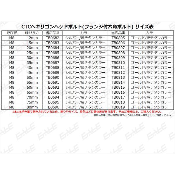 ヘキサゴンヘッドボルト CTC フランジ付六角ボルト M8×30mm ステンレス シルバー/焼チタンカラー|eale|03