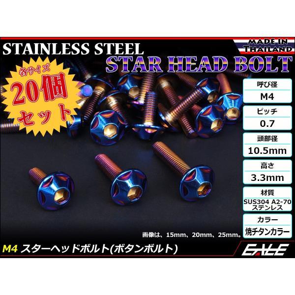 20個セット M4×12mm P0.7 スターヘッドボルト 焼きチタン カラー ボタンボルト ステンレス削り出し TR0029-20SET