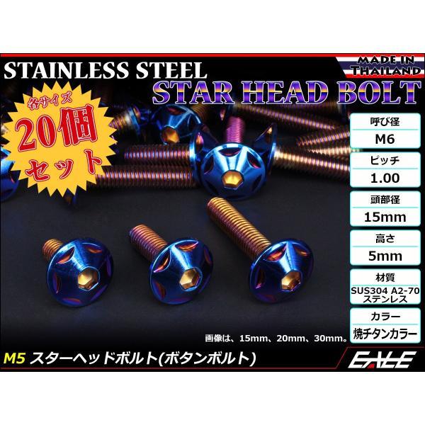 20個セット M6×35mm P1.0 スターヘッドボルト 焼きチタン カラー ボタンボルト ステンレス削り出し TR0042-20SET