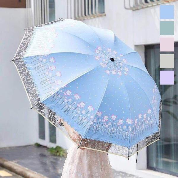 折りたたみ傘レディース花柄日傘雨傘晴雨兼用傘レースUVカット紫外線対策完全遮光遮熱プリント折りたたみ傘(3つ折)傘袋付き可愛い女