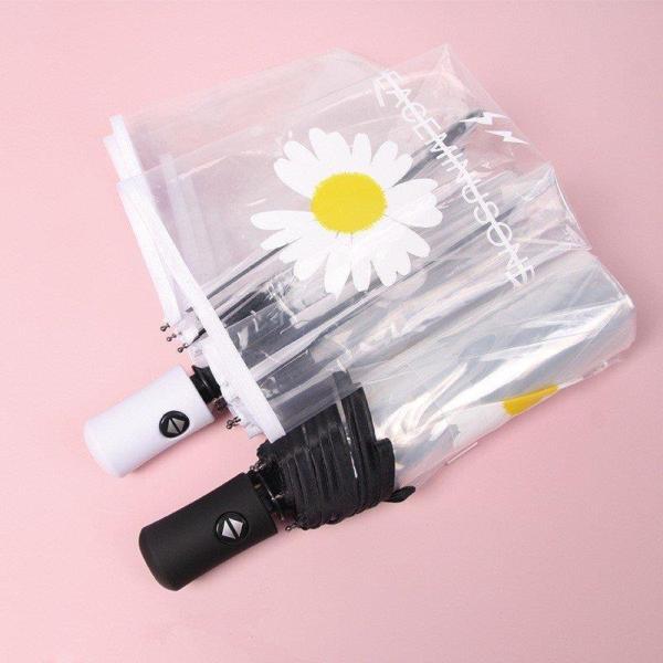 折りたたみ傘レディースメンズ自動開閉自動傘雨傘花柄フラワー透明傘折り畳み折りたたみ傘(3つ折)オシャレ可愛い8本骨おしゃれかわい