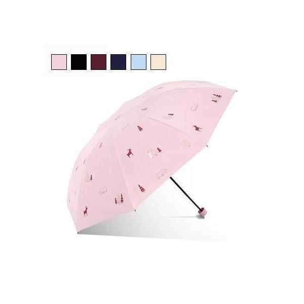 折りたたみ傘レディース日傘雨傘晴雨兼用傘折り畳みプリント折りたたみ傘(3つ折)オシャレ可愛い手動8本骨UVカット紫外線対策遮光遮