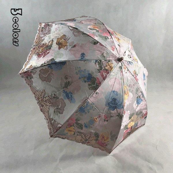 日傘折りたたみ傘花柄レディース手動傘折り畳み刺繍折りたたみ傘(2つ折)オシャレ傘袋付き可愛い女性用8本骨UVカット紫外線対策完全