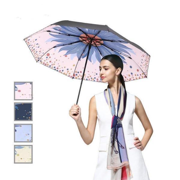 折りたたみ傘レディース花柄日傘雨傘晴雨兼用傘プリント手動傘折りたたみ傘(3つ折)オシャレ可愛い女性用8本骨UVカット紫外線対策完