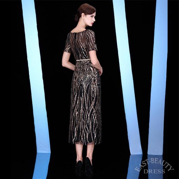 ミディアムドレス / 演奏会用ドレス 舞台衣装 高級パーティードレス / 袖付きロングドレス dr-a1855