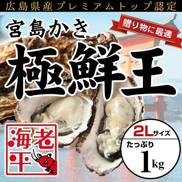 広島産 宮島かき「極鮮王」特大2Lサイズ(1kg)│かき カキ 牡蠣|ebihira55