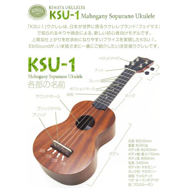 ウクレレ 初心者セット キワヤ KSU-1 フェイマス ソプラノ SPS|ebisound|02
