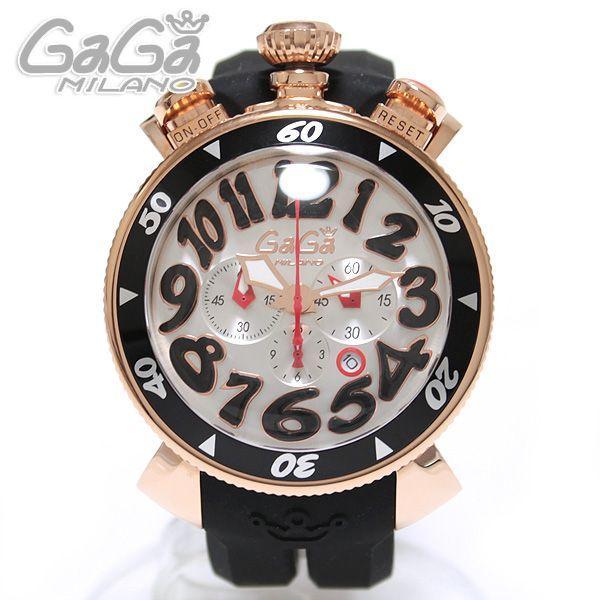 san francisco 70f74 4c952 ガガミラノ GaGa Milano Chrono クロノ 腕時計 48MM 18K PVD ピンクゴールド 6056.6 ブラックラバー/ブラック