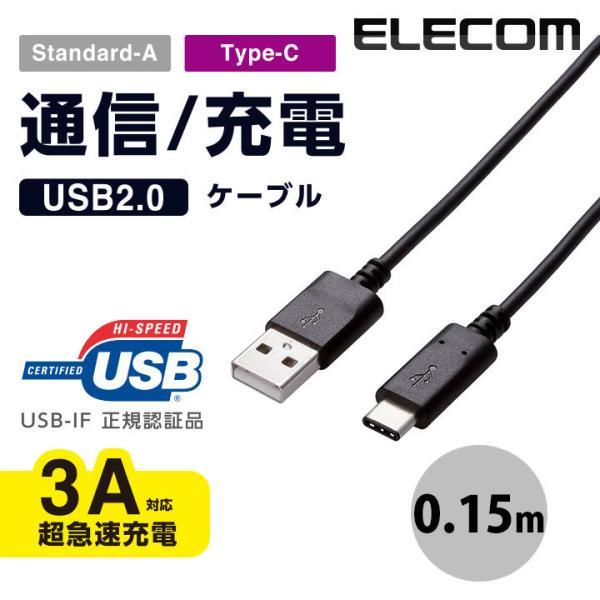 ケーブル エレコム ELECOM USB2.0ケーブル認証品、A-C 0.15m ブラック MPA-AC01NBK ネコポス可 ec-kitcut