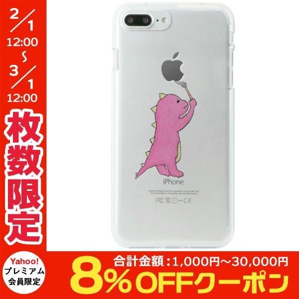 iPhone8Plus/ iPhone7Plus ケース Dparks ディーパークス iPhone 8 Plus / 7 Plus ソフトクリアケース お絵かきザウルス ピンク DS9083i7P ネコポス可 ec-kitcut
