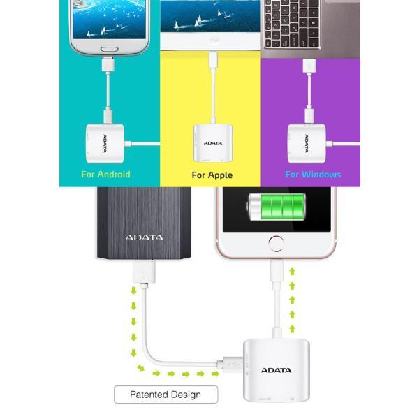 iPhone iPad カードリーダー ADATA エーデータ AI910 Lightning Card Reader Plus - Three-Way Share ALRAI910CWH ネコポス送料無料|ec-kitcut|02