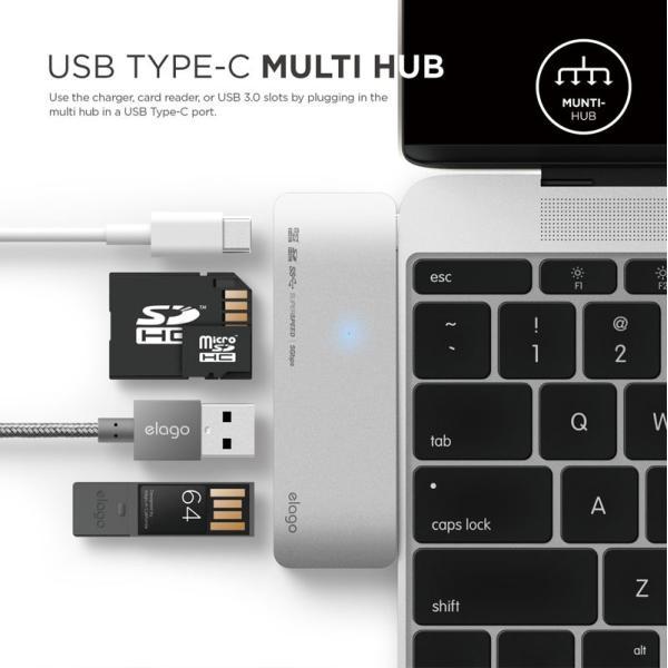 ドッキングステーション elago ALUMINUM CHARGING MULTI HUB USB-C for MacBook エラゴ ネコポス不可|ec-kitcut|03