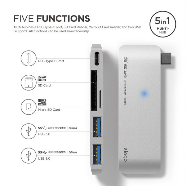 ドッキングステーション elago ALUMINUM CHARGING MULTI HUB USB-C for MacBook エラゴ ネコポス不可|ec-kitcut|04