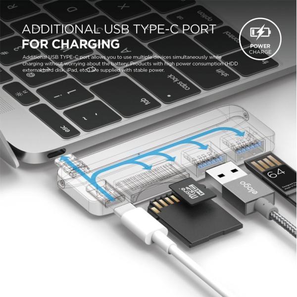 ドッキングステーション elago ALUMINUM CHARGING MULTI HUB USB-C for MacBook エラゴ ネコポス不可|ec-kitcut|05