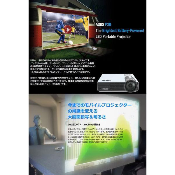 プロジェクター ASUS エイスース テック LEDポータブルプロジェクター DLP バッテリー駆動可能 1280x800 ホワイト P3B ネコポス不可|ec-kitcut|03