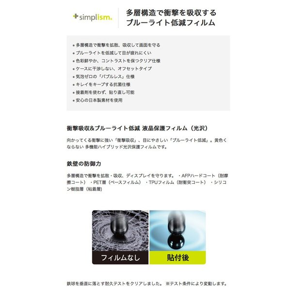 iPhone8 / iPhone7 /iPhone6s / iPhone6 フィルム Simplism iPhone 8 / 7 / 6s / 6 衝撃吸収&ブルーライト低減 液晶保護フィルム 光沢 ネコポス可|ec-kitcut|02