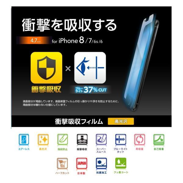 iPhone8 保護フィルム エレコム ELECOM iPhone 8 / 7 / 6s / 6 フィルム 衝撃吸収 指紋防止 ブルーライトカット PM-A17MFLBLGPN ネコポス可|ec-kitcut|02