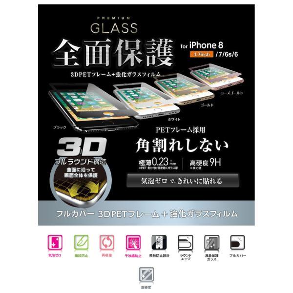 iPhone8 / iPhone7 /iPhone6s / iPhone6 ガラスフィルム エレコム iPhone 8 / 7 / 6s / 6 用 フルカバーガラスフィルム フレーム付  0.23mm ネコポス可|ec-kitcut|03
