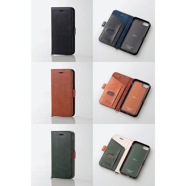 iPhone8 ケース スマホケース エレコム ELECOM iPhone 8 / 7 Vluno ソフトレザーカバー 磁石付 ブラック PM-A17MPLFYBK ネコポス可|ec-kitcut|07