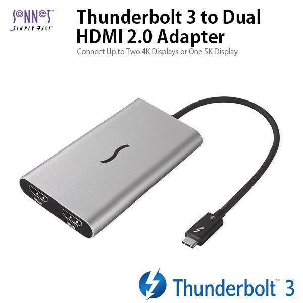 Thunderbolt 3 HDMI変換アダプタ SONNET ソネット テクノロジー Thunderbolt 3 to Dual HDMI 2.0 Adapter TB3-DHDMI ネコポス不可