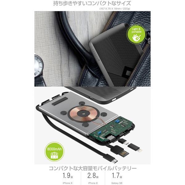 モバイルバッテリー HACRAY 4in1マルチ充電ケーブル内蔵型 ワイヤレスモバイルバッテリー 8000mAh  ハクライ ネコポス不可|ec-kitcut|08