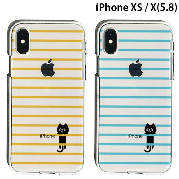 iPhoneXS / iPhoneX ケース Dparks iPhone XS / iPhone X ソフトクリアケース ボーダーネコ ディーパークス ネコポス不可|ec-kitcut
