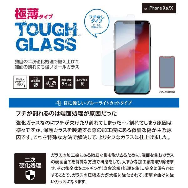 iPhone 11 Pro / XS / X 保護フィルム Deff ディーフ iPhone 11 Pro / XS / X TOUGH GLASS ブルーライトカット 0.25mm DG-IP18SB2F ネコポス送料無料|ec-kitcut|02