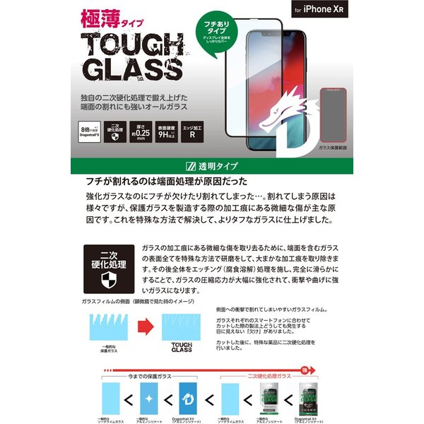 iPhone 11 / XR 保護フィルム Deff ディーフ iPhone 11 / XR TOUGH GLASS Dragontrail ブラック 通常 0.25mm DG-IP18MG2DFBK ネコポス送料無料 ec-kitcut 02