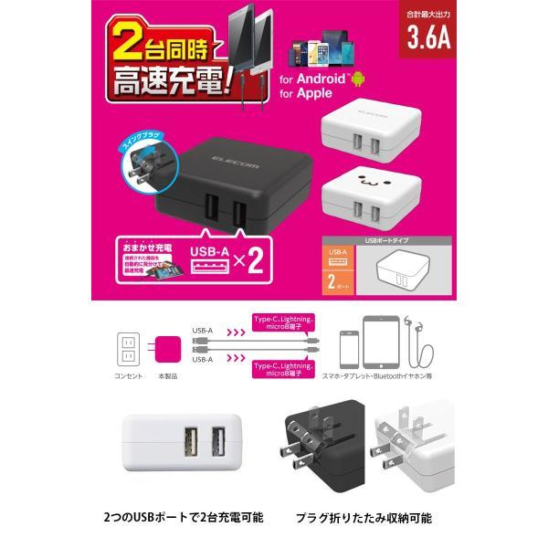 エレコム スマートフォン・タブレット用AC充電器 おまかせ充電対応 3.6A 2ポート  ネコポス不可 ec-kitcut 03