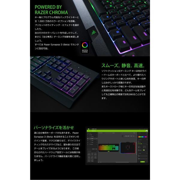 ゲーミングキーボード Razer レーザー Cynosa Cnroma 日本語配列 有線 ソフトクッション式 ゲーミングキーボード RZ03-02262300-R3J1 ネコポス不可|ec-kitcut|02