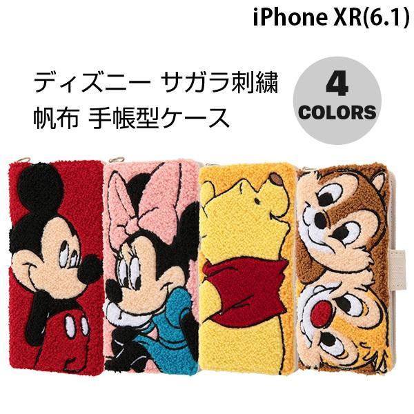 iPhoneXR ケース ingrem iPhone XR ディズニー サガラ刺繍 帆布 手帳型ケース イングレム ネコポス不可|ec-kitcut