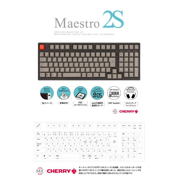 ARCHISS アーキス Maestro 2S メカニカル 省スペース キーボード 日本語配列 102キー CHERRY MX スイッチ 赤軸 昇華印字 黒/グレイ AS-KBM02/LRGBA ネコポス不可|ec-kitcut|02