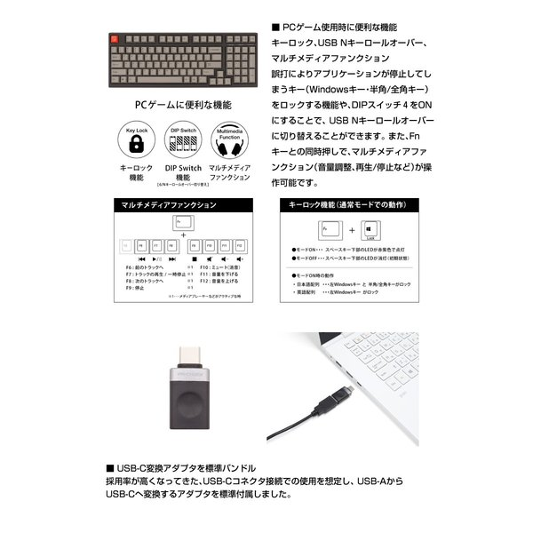 ARCHISS アーキス Maestro 2S メカニカル 省スペース キーボード 英語配列 98キー CHERRY MX スイッチ 茶軸 昇華印字 黒/グレイ AS-KBM98/TGB ネコポス不可|ec-kitcut|10
