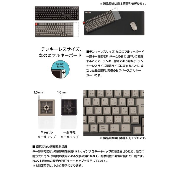 ARCHISS アーキス Maestro 2S メカニカル 省スペース キーボード 英語配列 98キー CHERRY MX スイッチ 静音赤軸 昇華印字 黒/グレイ AS-KBM98/SRGB ネコポス不可|ec-kitcut|03