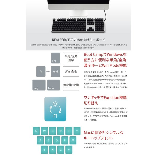 東プレ REALFORCE for Mac R2-JPVM-BK 日本語配列 変荷重 114キー フルサイズキーボード 無接点スイッチ 有線 レーザー印字 シルバー/黒 トープレ ネコポス不可|ec-kitcut|02
