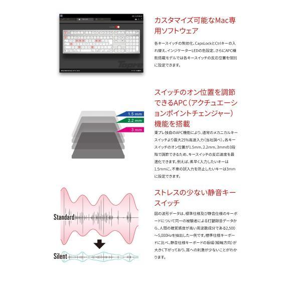東プレ REALFORCE SA for Mac R2SA-JP3M-BK 日本語配列 等荷重 114キー 静音フルサイズキーボード 無接点スイッチ 有線 レーザー印字 シルバー/黒 ネコポス不可|ec-kitcut|03