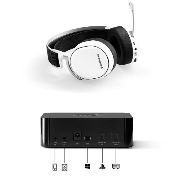 SteelSeries スティールシリーズ Arctis Pro Wireless ハイレゾ対応 2.4GHz Bluetooth ワイヤレス ゲーミングヘッドセット ホワイト ネコポス不可