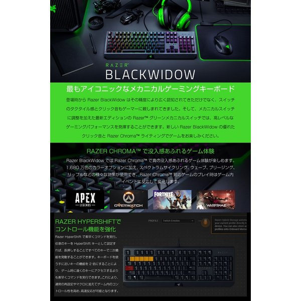Razer レーザー BlackWidow メカニカル ゲーミングキーボード 緑軸 英語配列 RZ03-02860100-R3M1 ネコポス不可 ec-kitcut 02