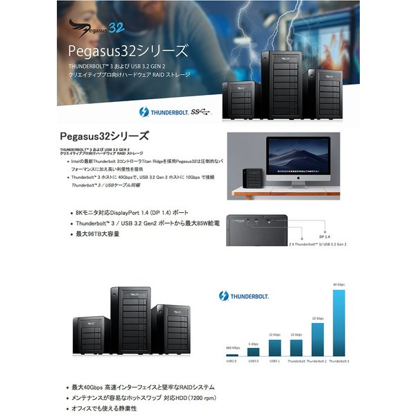 Promise Pegasus32 R4 16TB 4TBx4 Thunderbolt 3 / USB 3.2 Gen2 対応 ストレージ 4ベイ ハードウェア RAIDエンクロージャ ネコポス不可|ec-kitcut|02