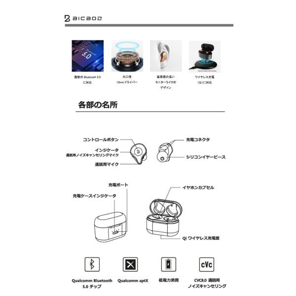完全ワイヤレス イヤホン 独立 BICBOZ B90 Pro Ultra Bluetooth 5.0 完全ワイヤレスイヤホン IPX5 防水 Qi充電 対応 ビックボズ ネコポス不可|ec-kitcut|05
