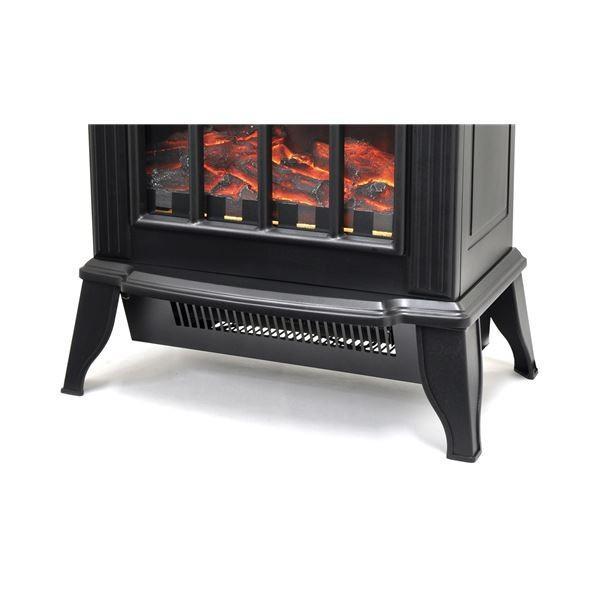 暖炉型 ファンヒーター/暖房器具 〔ブラック〕 幅36.5cm 速暖タイプ 温度過上昇防止装置 転倒時自動OFF 〔リビング ダイニング〕〔代引不可〕