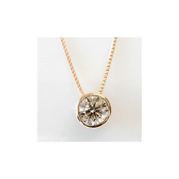 ダイヤモンド ネックレス レディース ダイヤ 一粒 18金 18k K18 0.3ct カラット シャンパンブラウンダイヤ ハート