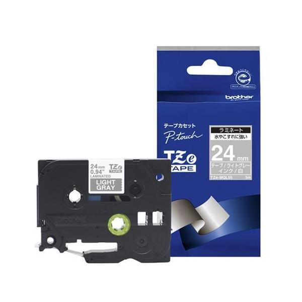 ブラザー TZe-MQL55 ピータッチ おしゃれテープ 白文字/ライトグレー(つや消し) 24mm
