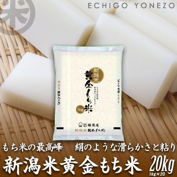 新米02 新潟産黄金もち米 20kg (1kg×20袋) 黄金餅米 100% 新潟県