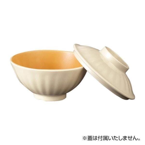 国際化工 面そぎ飯碗 身 乳白/オレンジC A 69B-IOC 1個